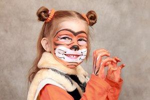 Girl- Tiger playfully growls