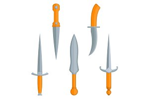 Set of dagger knives with very sharp point edges vector