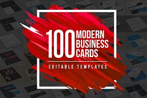 100 Modern Business Cards Bundle