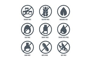 Set of icons with sign meaning absence of sugar gluten