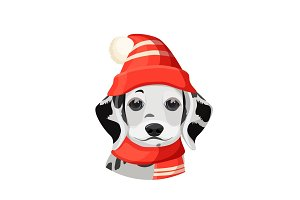 Dalmatian puppy in red hat with pompon and scarf vector