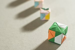 Origami cubes of paper