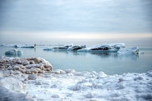 Icebergs on Lake Michigan