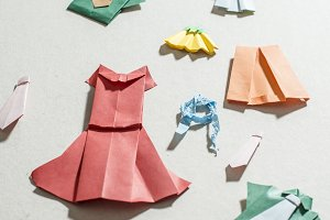 Many clothes origami.