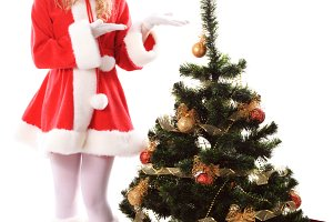 Christmas tree and santa girl