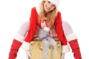 Christmas santa girl with gift