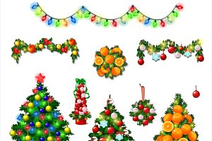 Set Of Cute Christmas Tree