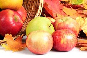 Apple in basket