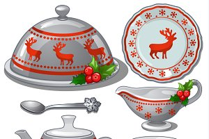 A set of Christmas dishes