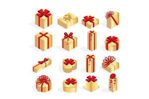 Isometric Set of colorful gift boxes with bows and ribbons. Surprise inside. Lots of presents. Flat style vector illustration isolated on white background.
