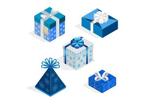 Isometric Set of colorful gift boxes with bows and ribbons. Surprise inside. Vector illustration.