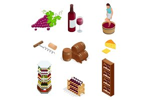 Isometric wine production icons collection. Vector illustration isolated on white background