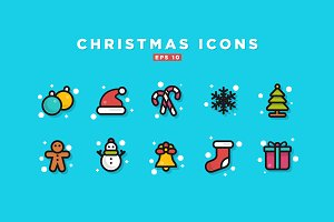 Christmas Line Icon Set Design