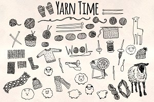 50+ Knitting and Yarn Craft Graphics