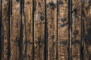 Burnt wooden boards