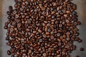 Coffee Beans on Baking Sheet