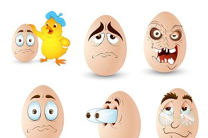 Cartoon Eggs Characters & Expression