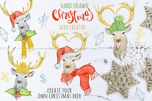 Christmas deer watercolor creator