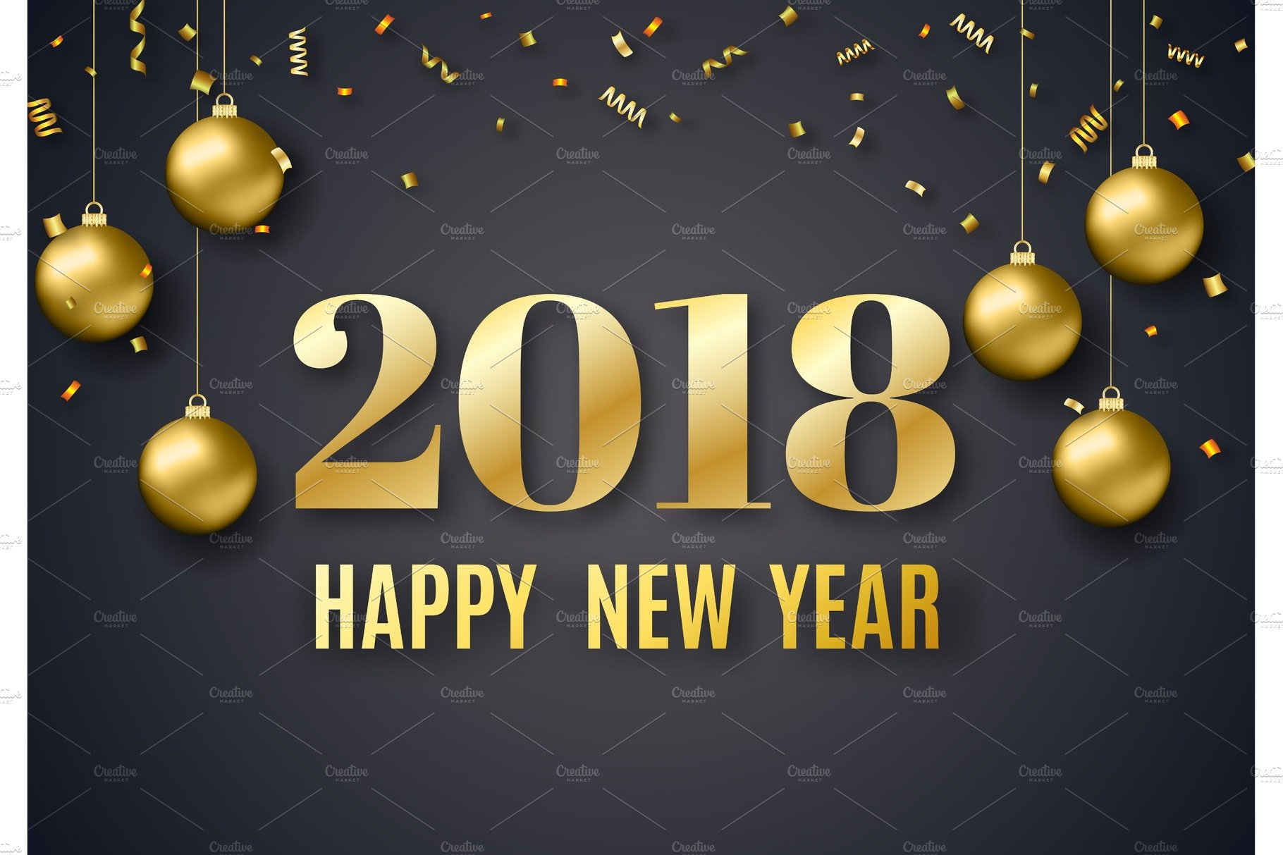 2018 new year background graphic objects creative market