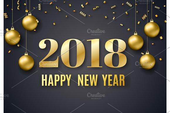 2018 new year background objects