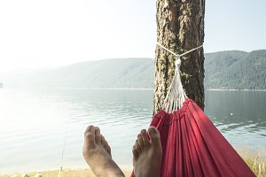 Man in hammock on mountain