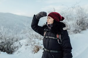 Female enjoying snowy country