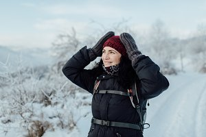 Woman admiring snowy country