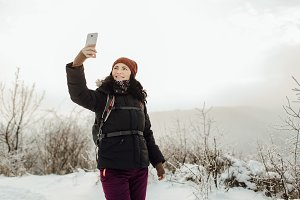 Female tourist taking a selfie