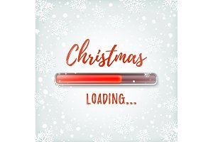 Christmas loading. Greeting card design template.