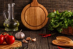 Vegetables, herbs, spices background
