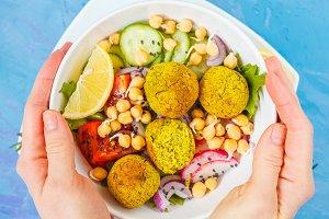 Baked falafel salad