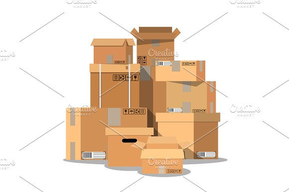 Pile Of Stacked Sealed Cardboard Boxes