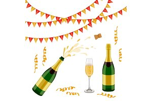 Champagne bottle, glass, flags and spiral confetti