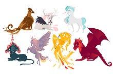 Set of mythical, mythological creates and animals