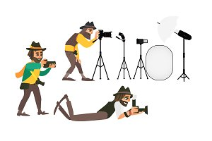 vector cartoon photographers and equipment set