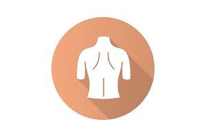 Woman's back flat design long shadow glyph icon