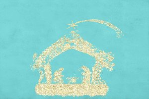 Christmas nativity Scene postal card