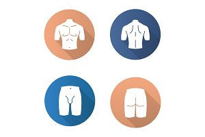 Male body parts flat design long shadow glyph icons set