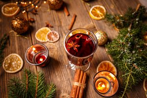 Hot mulled wine drink