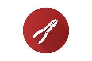 Combination pliers flat design long shadow glyph icon