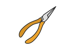 Pointed pliers color icon