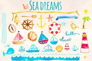 Seaside Ocean Nautical Watercolor