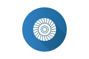 Abrasive flap wheel flat design long shadow glyph icon