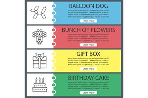 Party accessories web banner templates set
