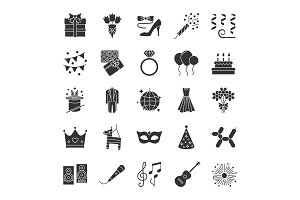 Holiday accessories glyph icons set