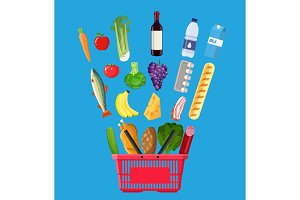 shopping basket full of groceries products.
