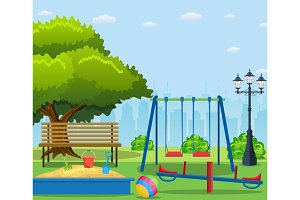 Kids playground cartoon concept background.