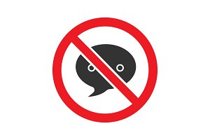 Forbidden sign with speech bubble glyph icon
