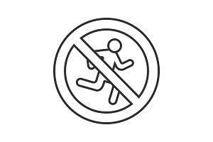 Forbidden sign with running man linear icon