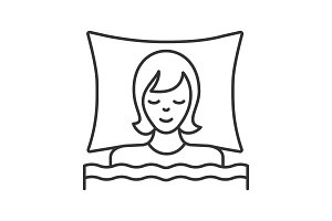Sleeping woman in bed linear icon
